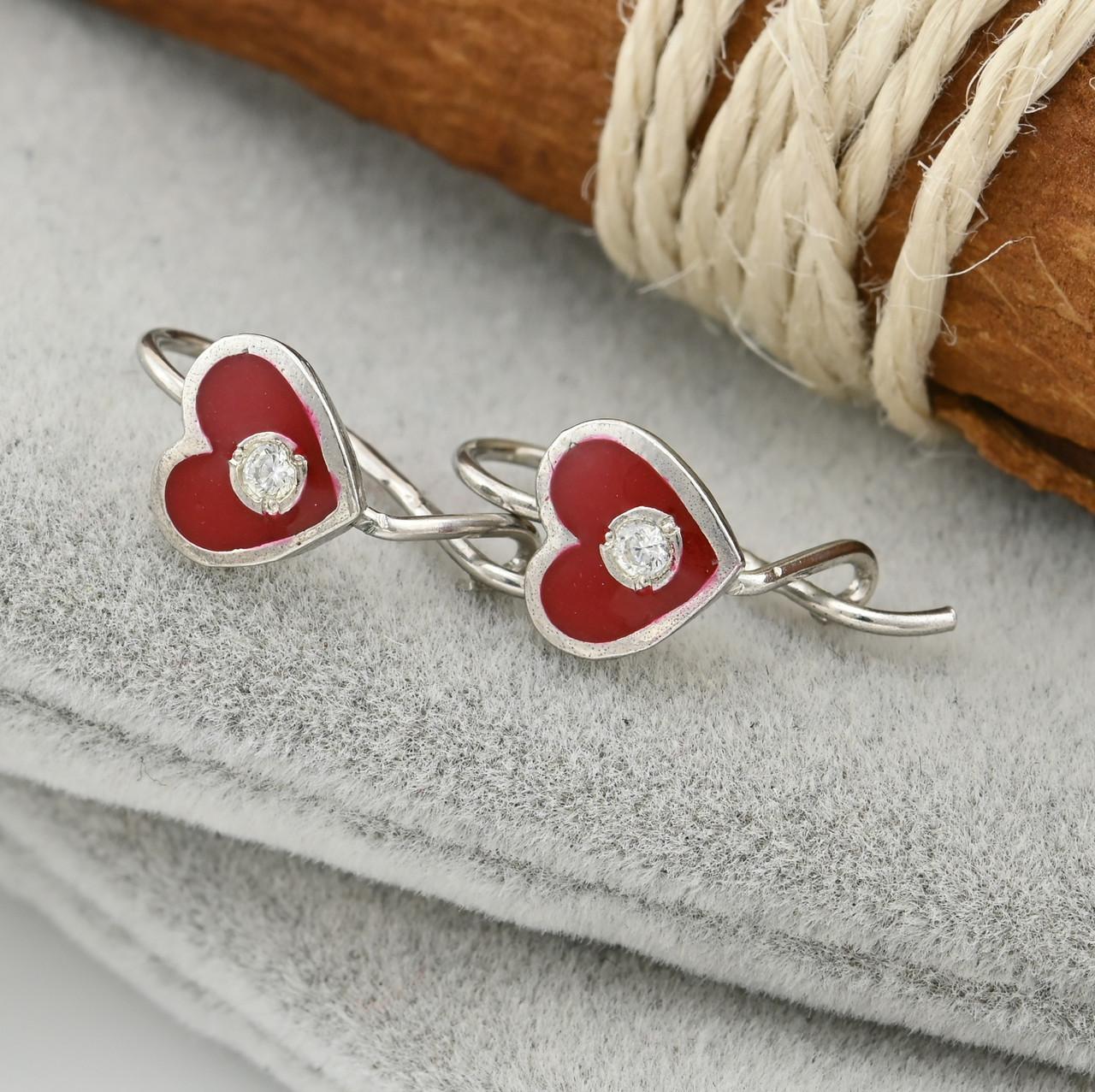 Серебряные серьги Сердце с диамантом размер 12х7 мм белые фианиты красная эмаль вес 2.68 г