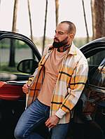 Тепла Чоловіча сорочка в клітку об'ємна, гірчичного кольору, фото 1