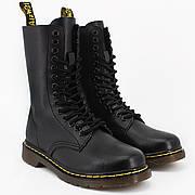 Женские ботинки в стиле Dr. Martens Original 1914 Black c 14 парами люверсов с мехом