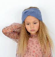 Стильна, красива пухнаста дитяча практична пов'язка на голову джинс