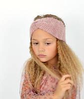 Стильна, красива пухнаста дитяча практична пов'язка на голову пудра
