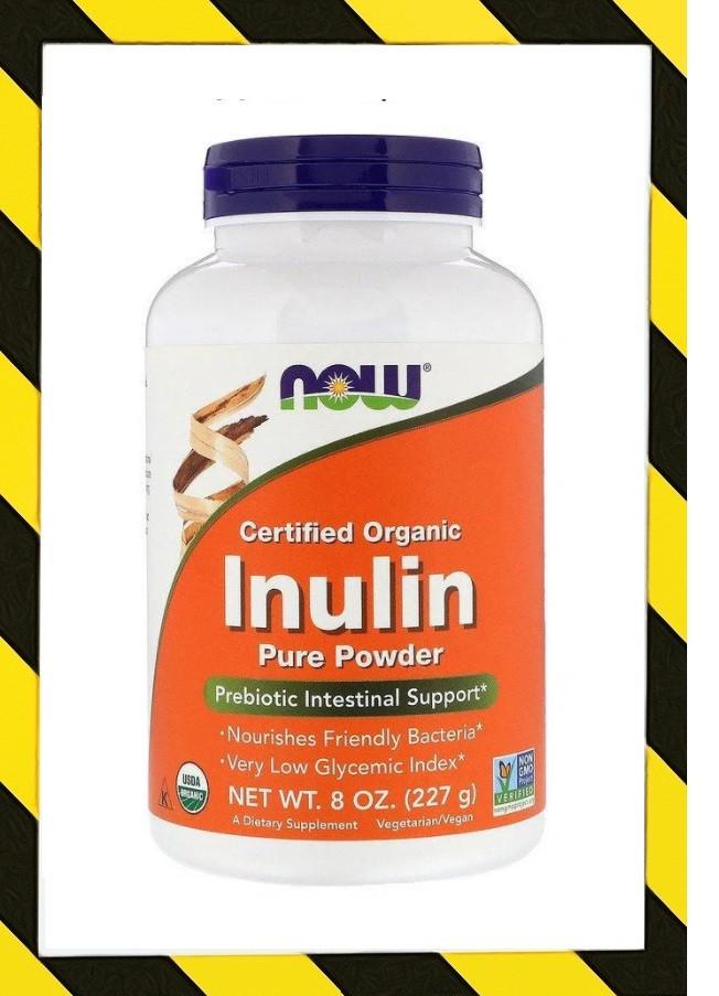 Now Foods, Сертифицированный органический инулин из голубой агавы, пребиотик в чистом порошке, 227 г