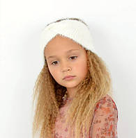 Стильна, красива пухнаста дитяча практична пов'язка на голову білий