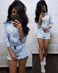 Піжама сорочка в смужку і шорти бавовна