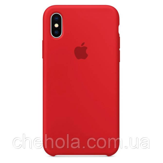 Чехол на iPhone X XS  Силиконовый противоударный Silicone Case Red Красный