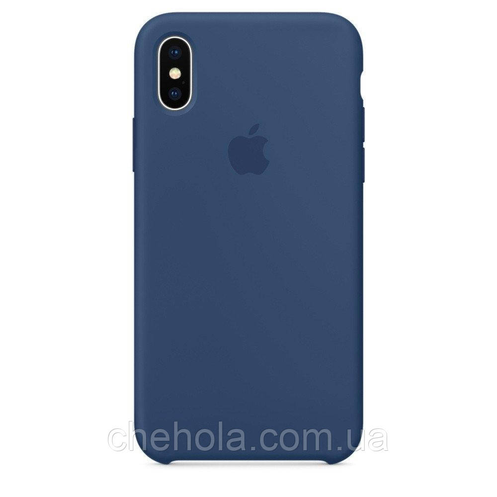 Силіконовий чохол Iphone X XS Silicone Case накладка на бампер Cobalt Blue Синій кобальт