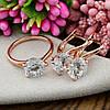 Набор Xuping 90463 кольцо 19р + серьги 19х8 мм белые фианиты позолота РО, фото 2