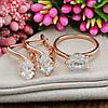 Набор Xuping 90463 кольцо 19р + серьги 19х8 мм белые фианиты позолота РО, фото 3
