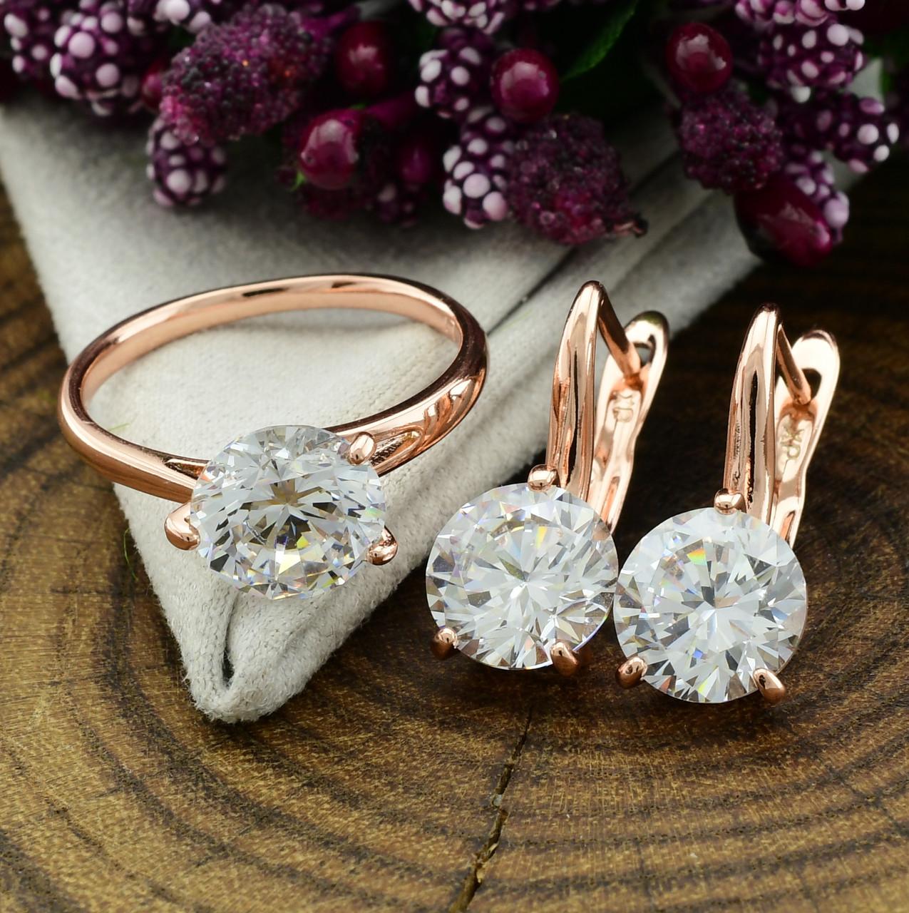 Набор Xuping 90463 кольцо 19р + серьги 19х8 мм белые фианиты позолота РО