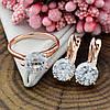 Набор Xuping 90463 кольцо 19р + серьги 19х8 мм белые фианиты позолота РО, фото 4