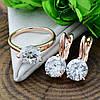 Набор Xuping 90463 кольцо 19р + серьги 19х8 мм белые фианиты позолота РО, фото 5