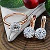 Набор Xuping 90463 кольцо 19р + серьги 19х8 мм белые фианиты позолота РО, фото 6