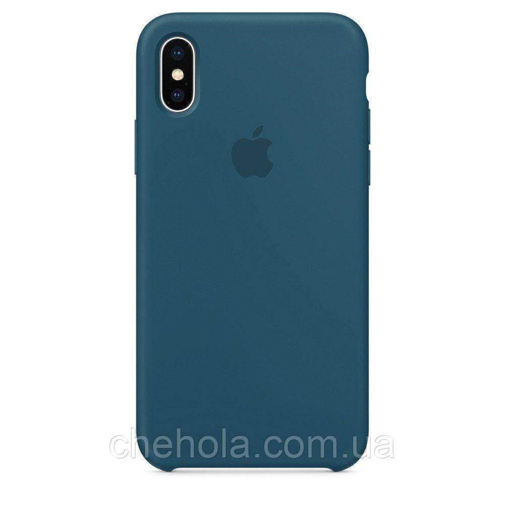 Чехол на iPhone X XS  Силиконовый противоударный Silicone Case Cosmos Blue Космический синий