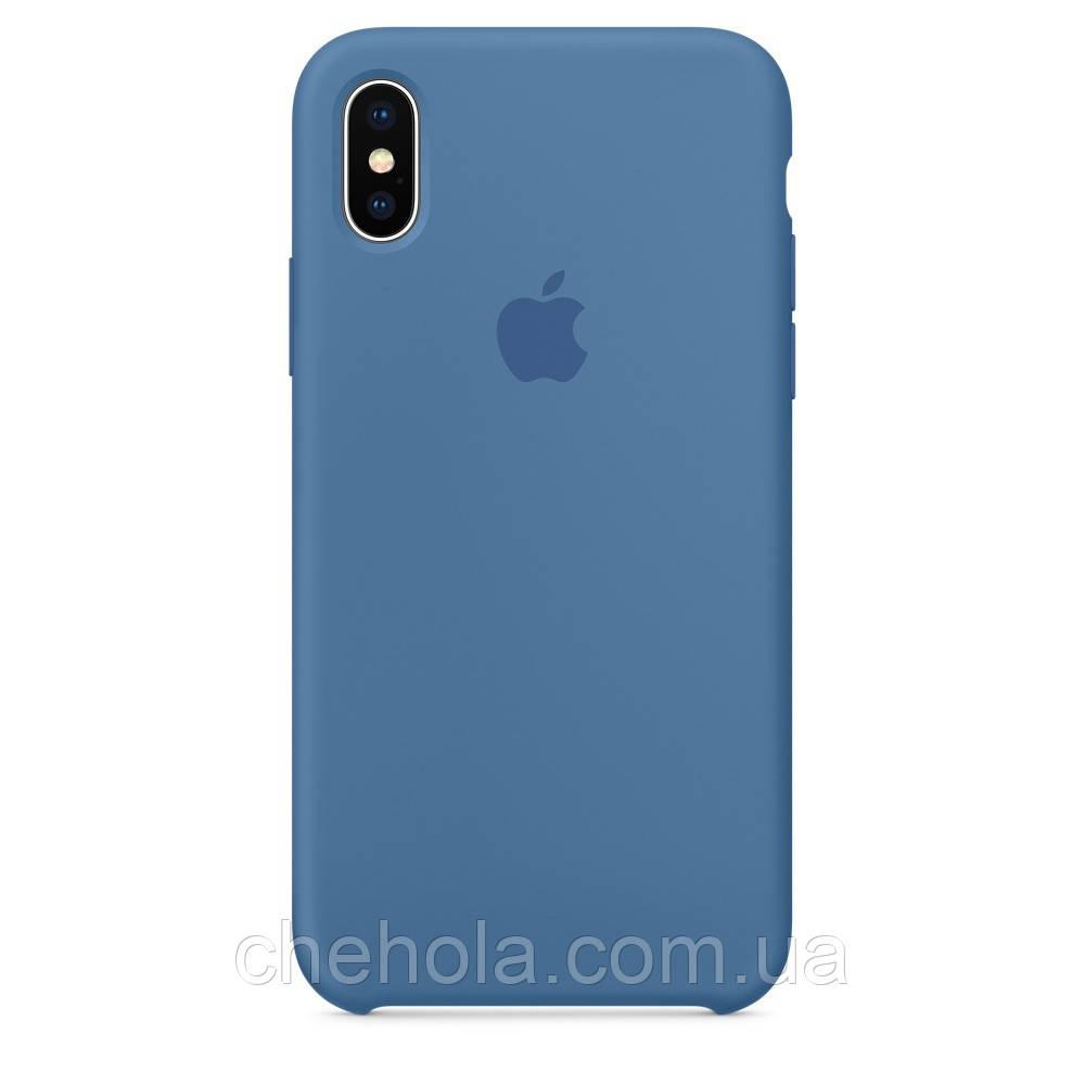 Чехол на iPhone X XS  Силиконовый противоударный Silicone Case Denim Blue Джинсовый синий