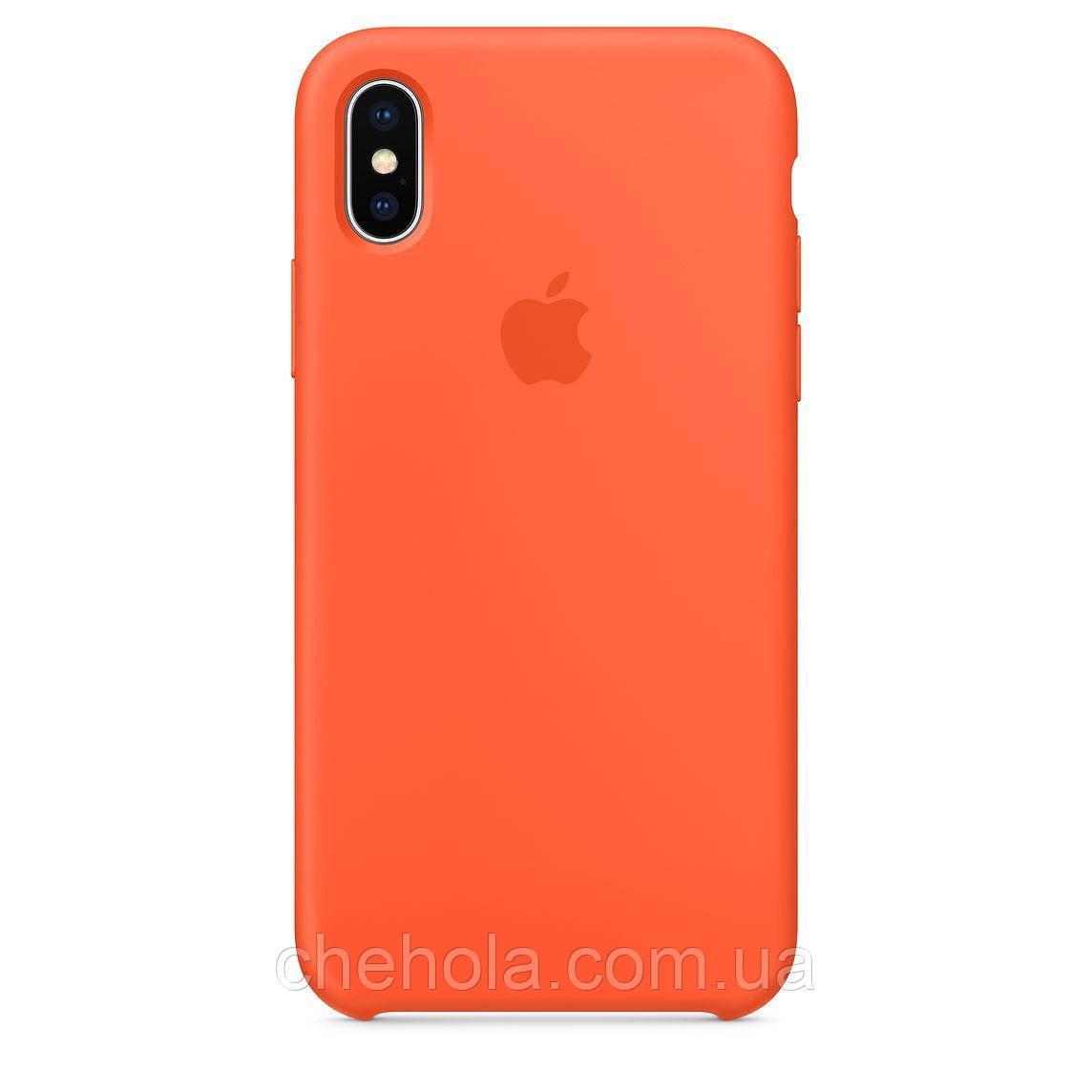 Чехол на iPhone X XS  Силиконовый противоударный Silicone Case Orange Оранжевый
