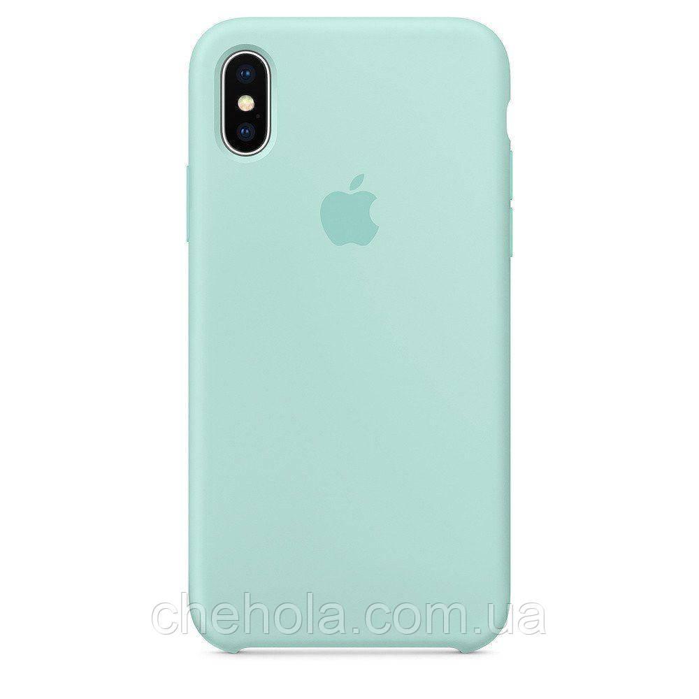 Силіконовий чохол Iphone X XS Silicone Case накладка на бампер Marine Green Ультрамарин