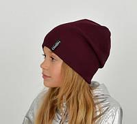 Детская двойная хлопковая шапка, украшена пришивной фурнитурой из мягкой пряжи