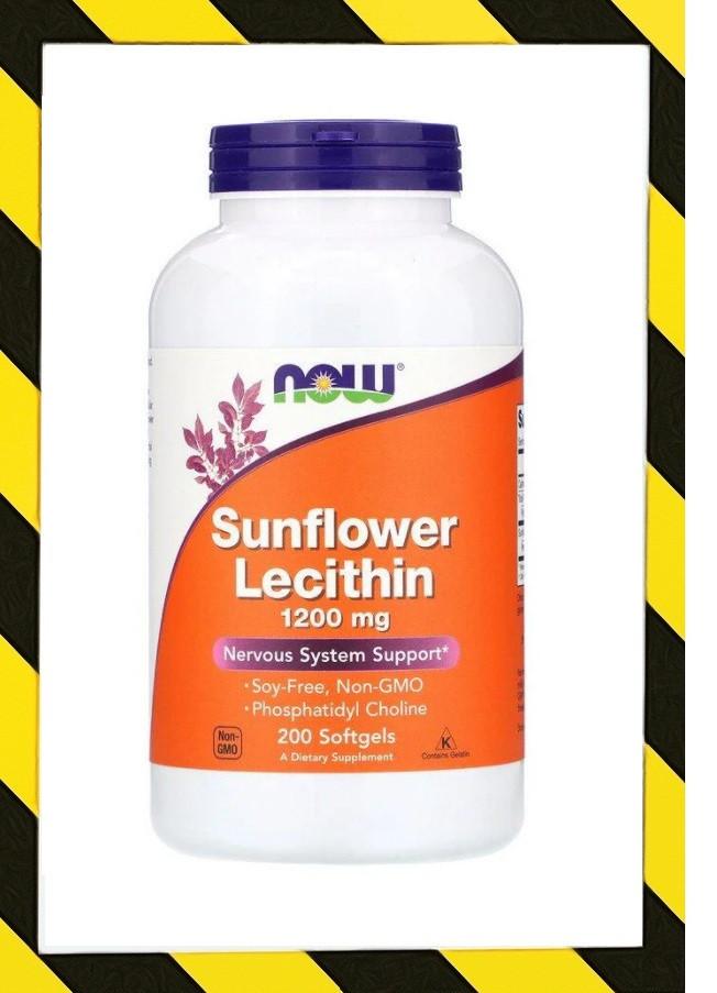 Now Foods, Sunflower Lecithin, Лецитин из подсолнечника, Фосфатидилхолин 1200 мг, 200 гелевых капсул
