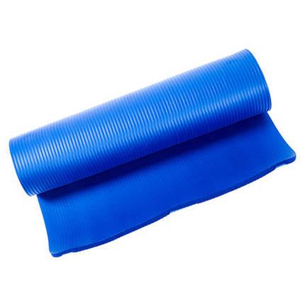 Килимок для йоги та фітнесу синій NBR, IronMaster 180х60х1см, фото 2