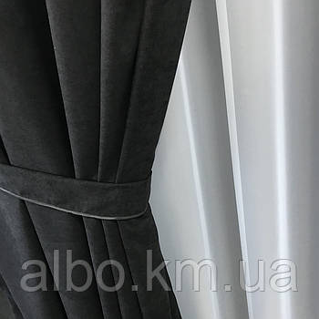 Готова штора з микровелюра 200x270 cm (1 шт) ALBO Чорна на люверсах (SH-Petek - 194 )