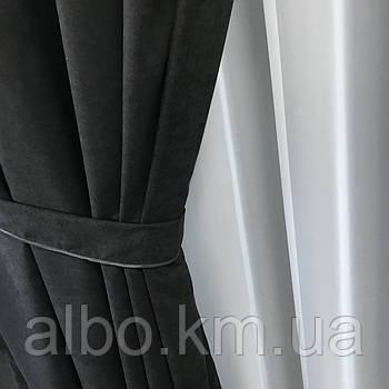 Готовая штора на кольцах люверсах из микровелюра 200x270 cm (1 шт) ALBO Черная (SH-Petek-194)