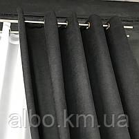 Готова штора з микровелюра 200x270 cm (1 шт) ALBO Чорна на люверсах (SH-Petek - 194 ), фото 8