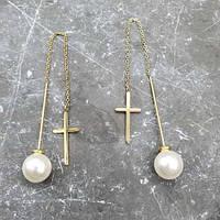 Сережки-протяжки з ювелірного сплаву і перлами на гвинтовий застібці 176385, фото 1