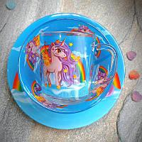 Набор детский для обеда, для девочек HLS Радужный Единорог 3 предмета (A9551/12)