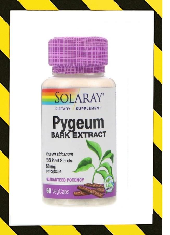 Solaray, экстракт коры африканской сливы,  (Pygeum africanum) 13% стеролы 50 мг, 60 капсул