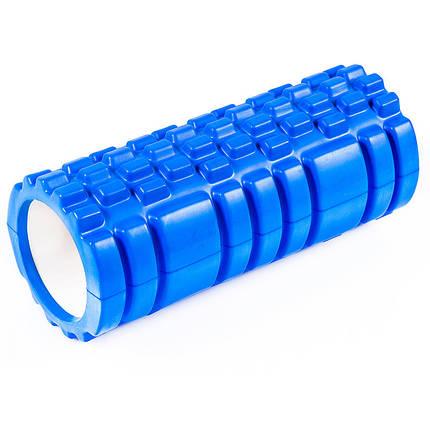 Масажний ролик для йоги синій 45х14см, фото 2