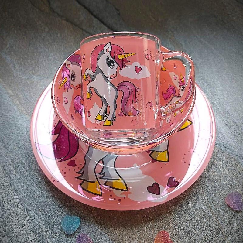 Набор детской посуды для девочек 3 предмета с мульт-героями Единорог розовый, разноцветный