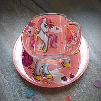 Набор детской посуды для девочек 3 предмета с мульт-героями Единорог розовый, разноцветный, фото 1