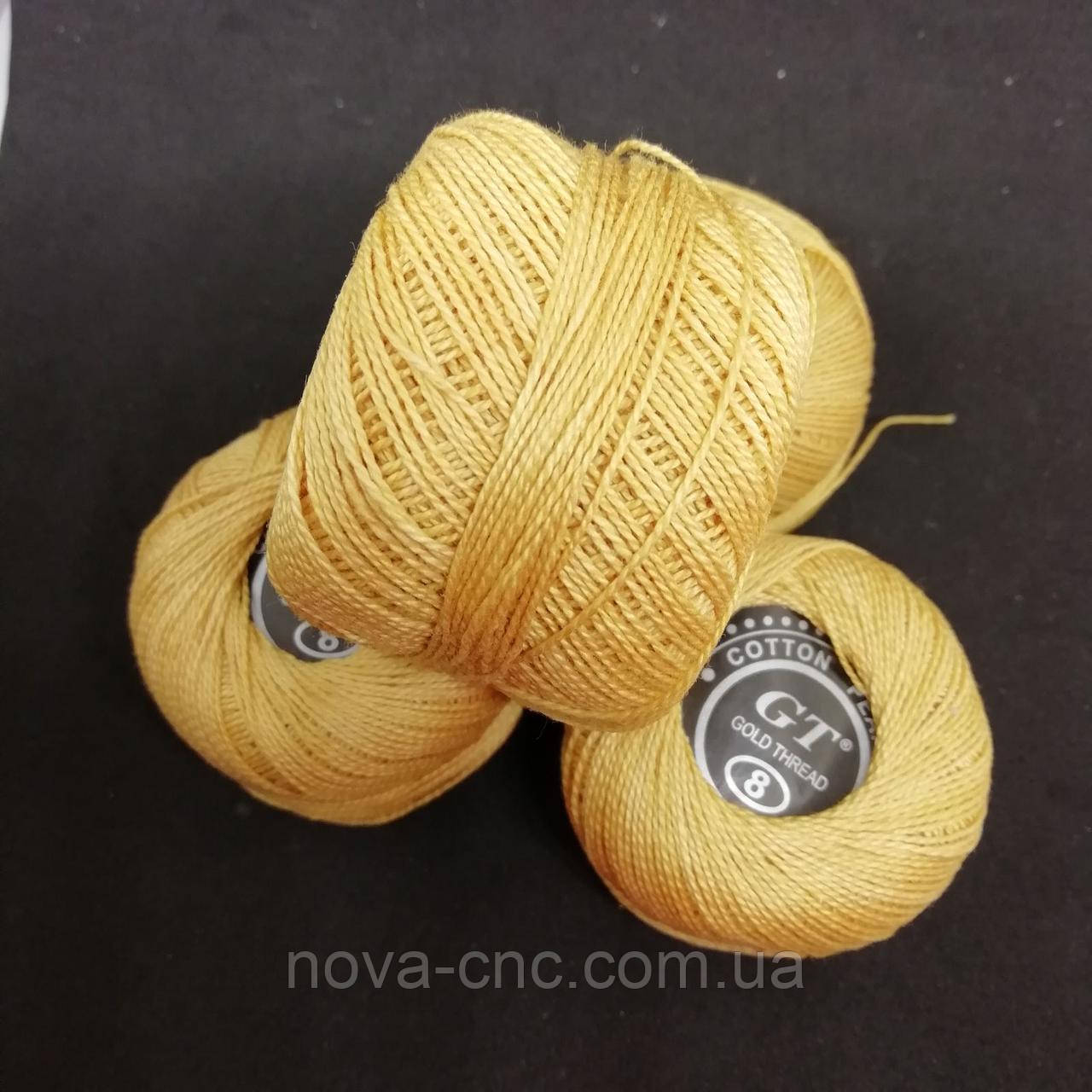Хлопок Пряжа Ирис №8/ 10 грамм бледно-оранжевый Упаковка 10 штук Тон 2130