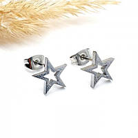 Сережки у вуха із застібкою-пусет з медичного металу Сталева зірка 176386, фото 1