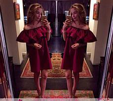 Платье летнее с воланом открытыми плечами и поясом хлопок, фото 2