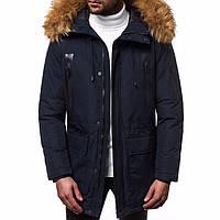 Куртка мужская зимняя темно-синяя с капюшоном. Мужская теплая парка темно-синего цвета с капюшоном.