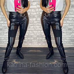 Женские черные лосины-брюки комбинированные эко-кожа и замш с молниями (размеры 42-52)