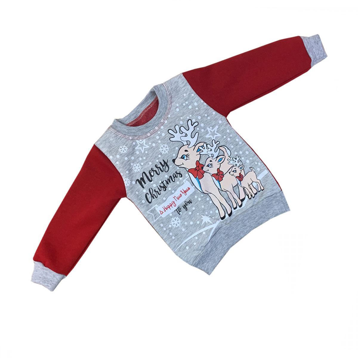 Толстовка детская новогодняя для девочки трехнитка-начес