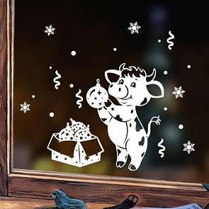 Новорічна наліпка на вікно, вітрину, стіну Святковий Бичок - символ 2021 року (наклейка Бик символ 2021 року)