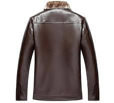 Утепленная кожанная мужская куртка, фото 3