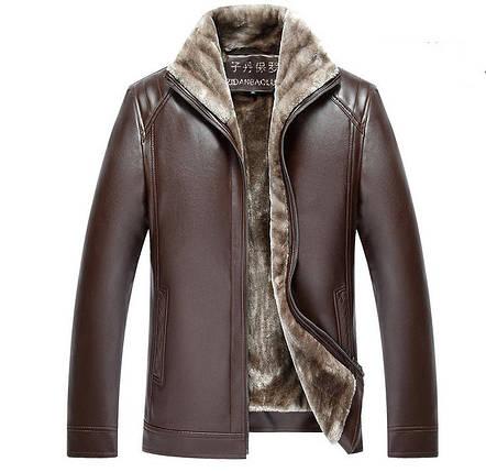 Утепленная кожанная мужская куртка, фото 2
