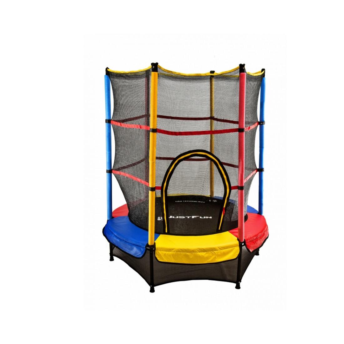 Батут для детей разноцветный Just Fun 140см Multicolor + защитная сетка (Спортивный батут)