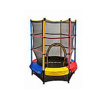 Батут для детей разноцветный Just Fun 140см Multicolor + защитная сетка (Спортивный батут), фото 1