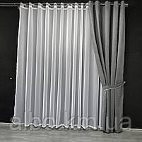 Сіра штори на люверсах мікровелюр 200x270 cm (1 шт) ALBO Сіра (SH-Petek - 339), фото 5