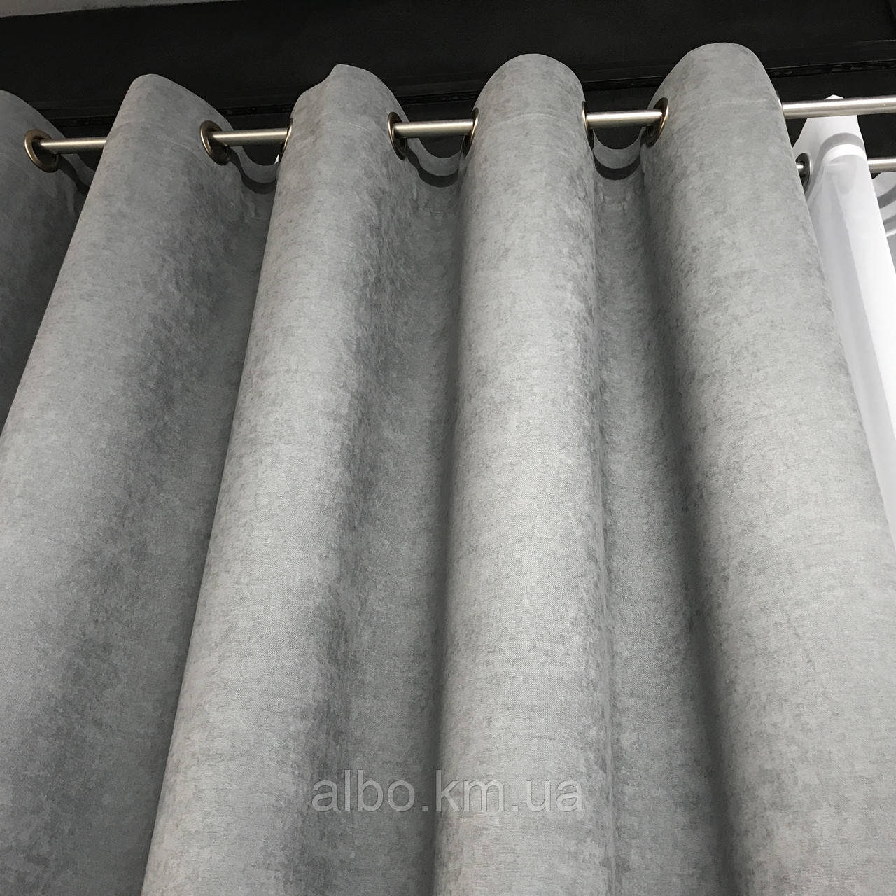 Сіра штори на люверсах мікровелюр 200x270 cm (1 шт) ALBO Сіра (SH-Petek - 339)