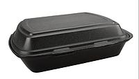 Ланч бокс одноразовый НР-1 черный без делений вспененный полистирол 125 шт 240х205х80