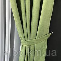 Штора на люверсах из микровелюра 200x270 cm (1 шт) ALBO Зеленая  (SH-Petek-586), фото 9