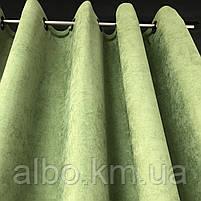 Штора на люверсах из микровелюра 200x270 cm (1 шт) ALBO Зеленая  (SH-Petek-586), фото 10