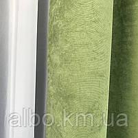 Штора на люверсах из микровелюра 200x270 cm (1 шт) ALBO Зеленая  (SH-Petek-586), фото 2