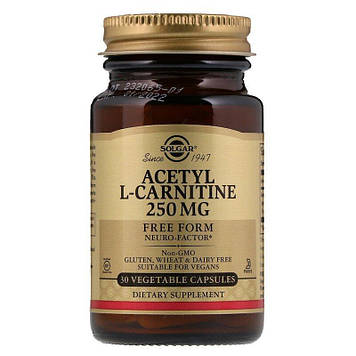 Ацетил Л-карнитин Solgar Acetyl L-Carnitine 250 mg (30 veg caps)